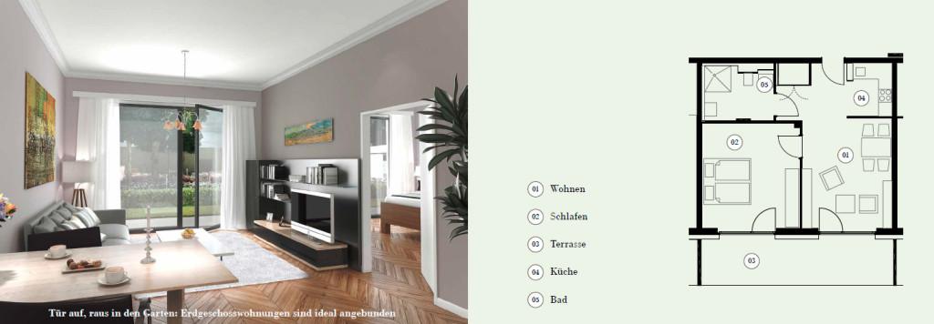 Direkt im Grünen: Wohnungen im Erdgeschoss