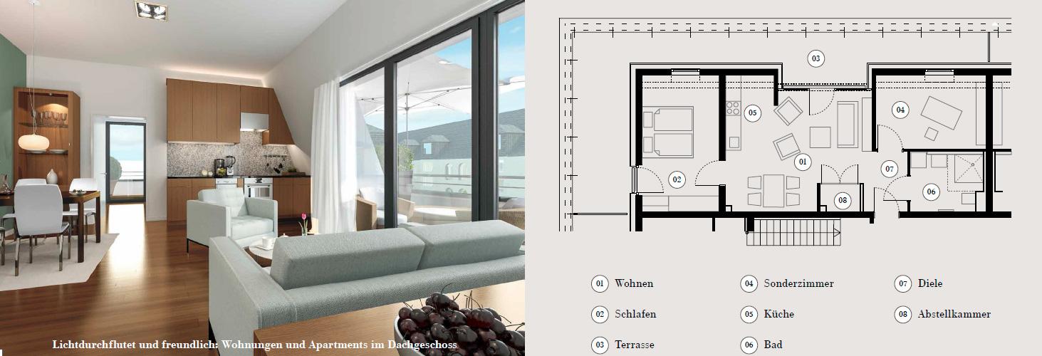sch ne aussichten wohnungen mit dachterrasse oder balkon wohnpark st elisabethwohnpark st. Black Bedroom Furniture Sets. Home Design Ideas